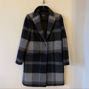 THEORY-Oversized Plaid Cocoon Mohair Blend Coat